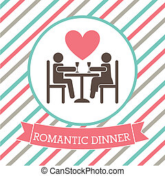romantic dinner over lineal background vector illustration