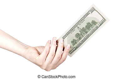 making money concept - human hand with money american...