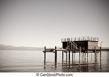 Tranquil dock - Faded image of dock on mountain lake
