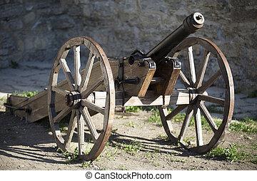 viejo, medieval, artillería, Canon