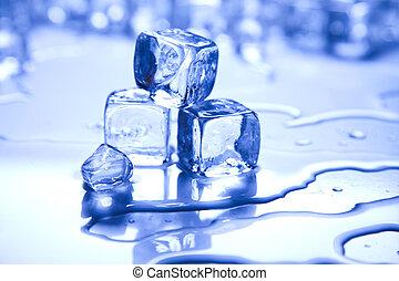 azul, brillante, hielo, cubos