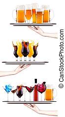 jogo, diferente, alcoólico, bebidas, Coquetéis