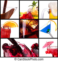 collage with alcohol cocktails - beer, martini,...