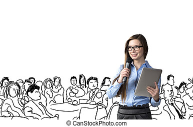 Business conference - Beautiful business woman is speaking...