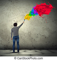 Young man and colour splash