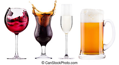 Collection of different images of alcohol isolated -...