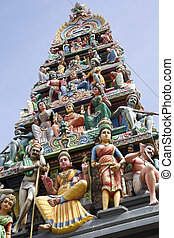Hindu temple, Singapore - highly decorated entrance gate...