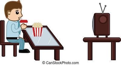Man Watching TV While Having Snacks