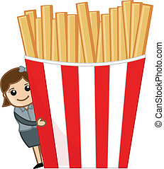 Woman with French Fries Vector - Drawing Art of Cartoon...