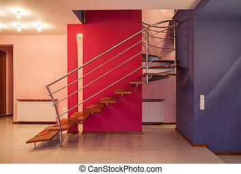 amaranto, casa, -, escadaria