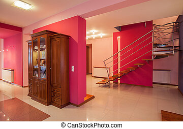 Amaranth house - Colorful interior, bright pink walls