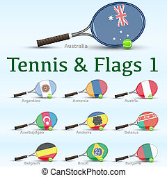 Tennis rackets & flags - Tennis racket painted in the colors...