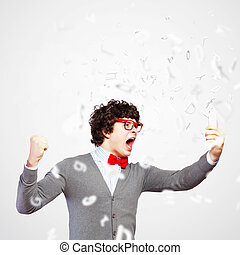 Young man shouting at his mobile phone - Young businessman...