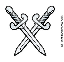 Crossed Sword - Vector - Drawing Art of Crossed Sword Vector...