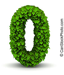 Number 0, green leaves font - Number 0 green leaves font...