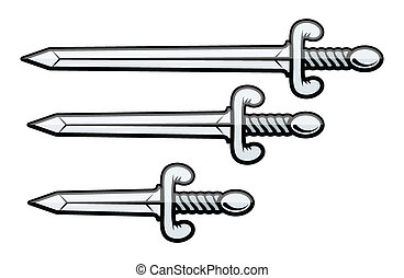 Sword and Dagger - Vector - Drawing Art of Cartoon Sword and...