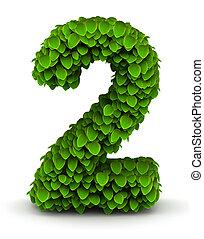 Number 2, green leaves font - Number 2 green leaves font...