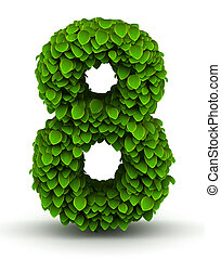 Number 8, green leaves font - Number 8 green leaves font...