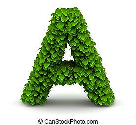 Leaves font letter A - Leaves alphabet font letter A on...