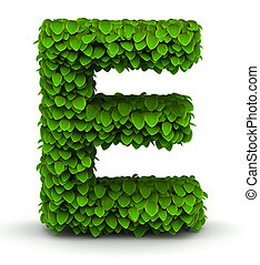 Leaves font letter E - Leaves alphabet font letter E on...