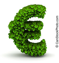 Euro symbol, green leaves font - Euro symbol green leaves...