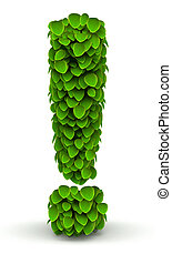Exclamation mark green leaves font ecology theme on white...
