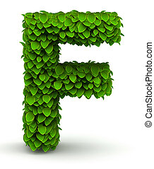 Leaves font letter F - Leaves alphabet font letter F on...