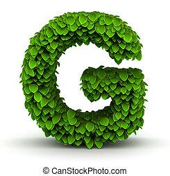 Leaves font letter G - Leaves alphabet font letter G on...