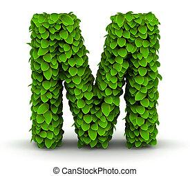 Leaves font letter M - Leaves alphabet font letter M on...