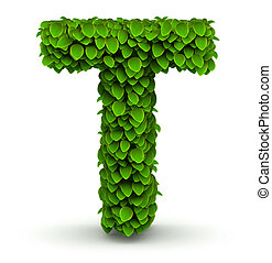 Leaves font letter T - Leaves alphabet font letter T on...