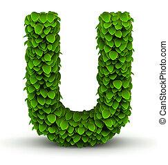 Leaves font letter U - Leaves alphabet font letter U on...