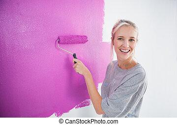 ridere, donna, pittura, lei, parete, rosa