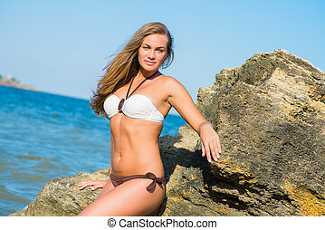 woman in a bathing suit - beautiful sexy woman in a bathing...