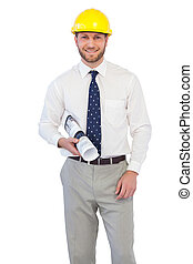 Cheerful young architect posing against white background