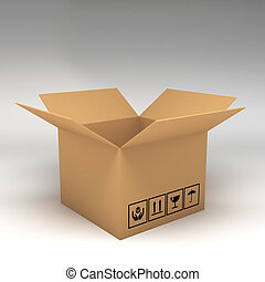 Cardboard boxes on white background 3d illustration