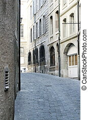 Street in old city, Geneva, Switzerland - Street with stones...