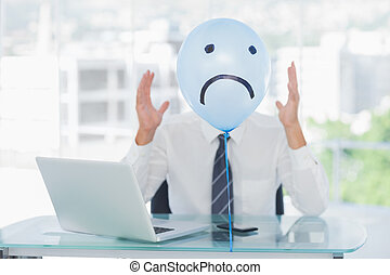 Blue, balloon, sad, face, hiding, angry, businessman's, face