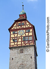 Historic tower in Schwaebisch Hall, Germany - Historic tower...