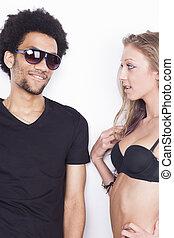 Young happy interracial couple