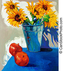 Sunflowers - Original oil painting of abstract sunflowers on...