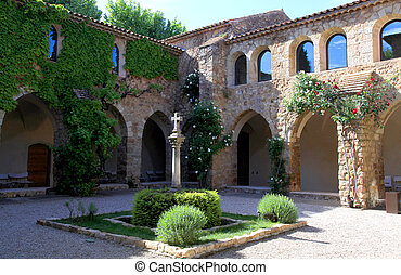 Patio in La Chapelle de Sainte-Roseline, Provence, France -...