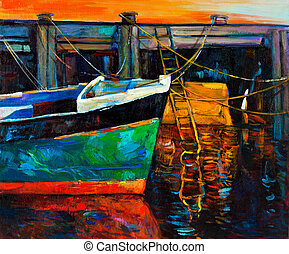 Boat and pier - Original oil painting of boat and jettypier...