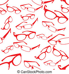 Seamless Red Spectacle Pattern Vect