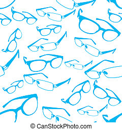 Seamless Blue Spectacle Pattern Vec