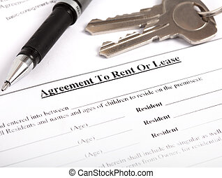 rental agreement, close-up - the rental agreement, close-up