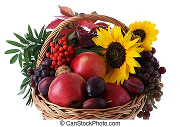 Basket with fruits and sunflower - Wicker with autumn fruits...