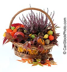 Autumn stuff - Wicker basket with autumn stuff on isolated...