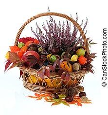 Autumn stuff - Wicker basket with autumn stuff on isolated...