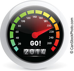 2014 year Calendar speedometer car Vector illustration