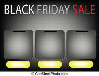 Three Square Label on Black Friday Sale Background - Three...